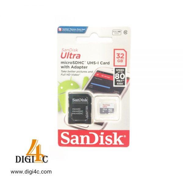 کارت حافظه microSDHC سن دیسک مدل Ultra کلاس 10 استاندارد UHS-I U1 سرعت 80MBps 533X همراه با آداپتور SD ظرفیت 32 گیگابایت