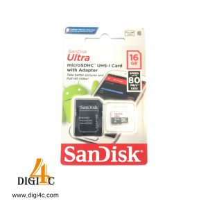 MicroSDHC SanDisk Ultra Class 10 memory card standard UHS-I U1 standard 80MBps 533X speed with 16 GB SD adapter